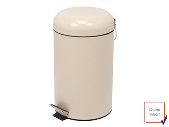 Mülleimer Treteimer, Creme, 12L, herausnehmbarer Innenbehälter, Ø 25 x 43,5cm