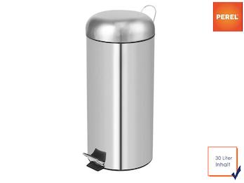 Mülleimer Treteimer rund Chrom 30L herausnehmbarem Innenbehälter Ø 29x69,5cm