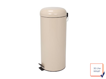 Mülleimer Treteimer, Creme, 30L, herausnehmbarem Innenbehälter, Ø 29 x 69,5cm