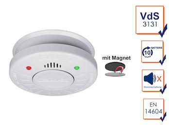 10 Jahres Rauchmelder VdS Zertifiziert - Stummschaltfunktion - Magnetbefestigung