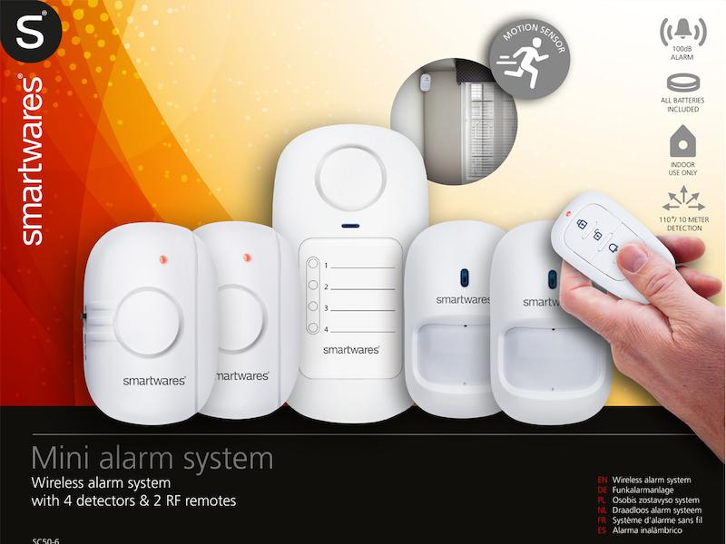7tlg. Mini Alarmsystem / Hausalarm 100 dB, Erfassung: 110° / 7 Meter