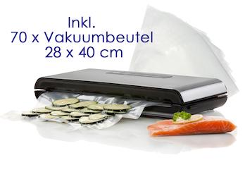Vakuumierer, Folienschweissgerät - Luftdicht inkl. 70 Vakuumbeutel 28 x 40 cm