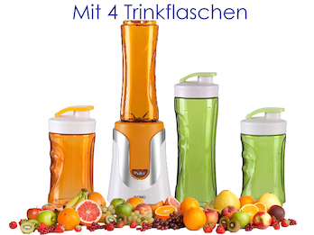 Family Smoothie-Maker 300W Orange, 4 Flaschen (300ml & 600ml je 2 Orange & Grün)
