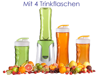 Family Smoothie-Maker 300W Grün, 4 Flaschen (300ml & 600ml je 2 Grün & Orange)