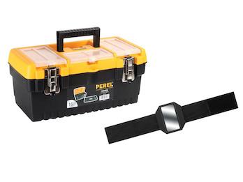Werkzeugkiste aus Kunststoff mit Trägereinsatz + EASY Work Magnetarmband