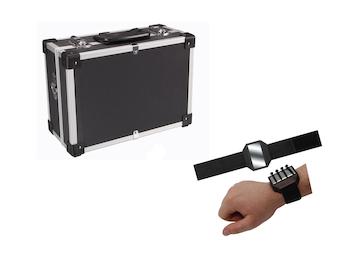 Werkzeugkoffer aus Aluminium Schwarz mit Kanntenschutz + EASY Work Magnetarmband