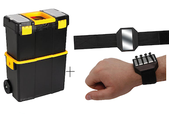 Praktischer Werkzeugtrolley 2-Teilig aus Kunststoff + EASY Work Magnetarmband