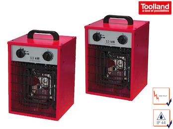 2er Set Bauheizer Heizstrahler 2 Stufen, Ventilator, Thermostat, 3300W IPX4 230V