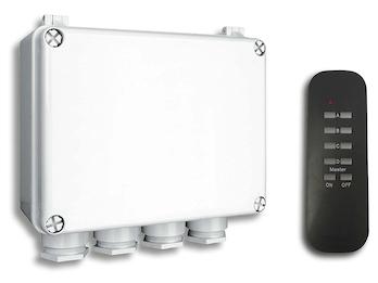 Funk Dreifachschalter Outdoor für Geräte bis jeweils 400W mit Fernbedienung