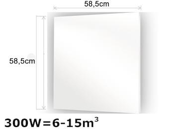 300W Glasheizpaneel, Infrarotheizung weiß, rahmenloses Glaspaneel 59x59cm, IP44