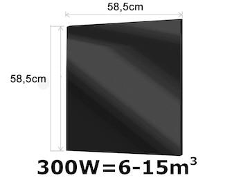 300W Glasheizpaneel, Infrarotheizung schwarz, rahmenloses Glaspaneel 59x59cm