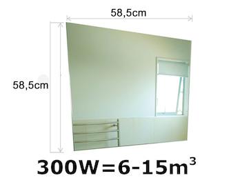 300W Infrarotheizung, rahmenloses Glasheizpaneel in Spiegeloptik, 59x59cm, IP44