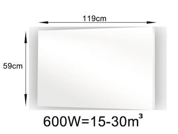 600W Glasheizpaneel, Infrarotheizung weiß, rahmenloses Glaspaneel 59x119cm, IP44