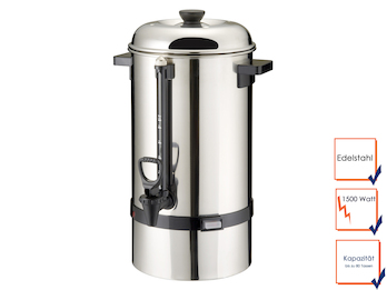 Profi-Kaffeebereiter aus Edelstahl, 12 Liter, 1500 Watt