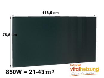 600W Glasheizpaneel, Infrarotheizung schwarz, rahmenloses Glaspaneel 59x119cm