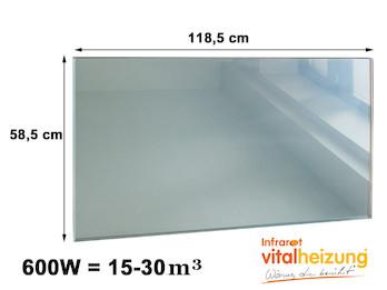 600W Infrarotheizung, rahmenloses Glasheizpaneel in Spiegeloptik, 59x119cm, IP44