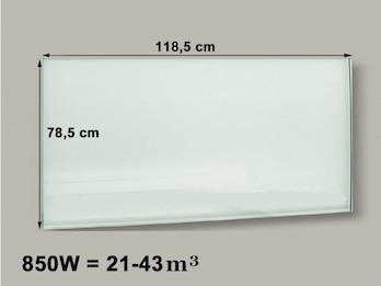 850W Glasheizpaneel, Infrarotheizung weiß, rahmenloses Glaspaneel 79x119cm, IP44