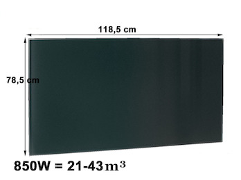 850W Glasheizpaneel, Infrarotheizung schwarz, rahmenloses Glaspaneel 79x119cm