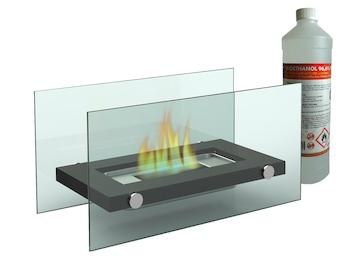 Design Tischkamin inkl. 1Liter Bio-Ethanol, Tischfeuer für behagliche Atmosphäre