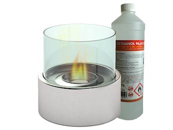 Edler Tischkamin Ø 16 cm, inkl. 1Liter Bio-Ethanol, Für behagliche Atmosphäre