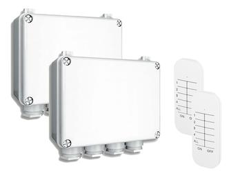 2er Set Funk Dreifachschalter Outdoor für Geräte bis je 400W mit Fernbedienung