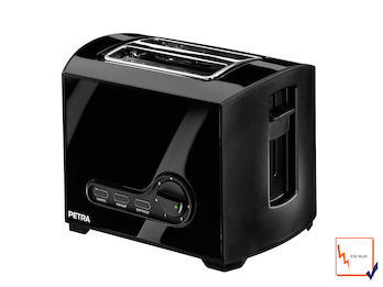 Kompakter schwarzer Toaster, Aufwärm- und Auftaufunktion, 950W
