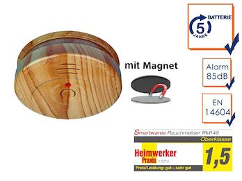 Rauchmelder in Holzoptik mit 5 Jahres Batterie & EASY Magnetmontage