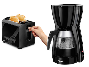 Elegante schwarze Kaffeemaschine und Toaster im Set, für ein perfektes Frühstück