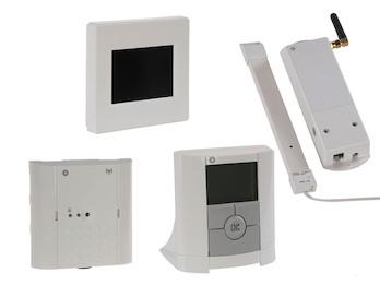 Zentraleinheit mit Thermostat, Empfänger und GSM-Modul, Zentralregelung Heizung