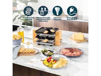 DESIGN Raclette Tischgrill für 4 Personen mit Holz & extra Ablage für Pfännchen