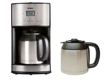 Edelstahl Kaffemaschine mit Timer, 2 x Thermoskannen je 1,2 Liter, 1000W