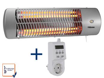 Halogen Heizstrahler + Stecker Thermostat, bis 1200 Watt, Wickeltischheizer