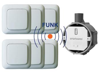 SmartHome Funk Schalter Set - Funk-Einbauschalter + 6 x Funk-Wandschalter