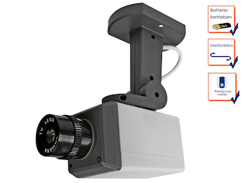 Drehende Kamera-Attrappe, Bewegungssensor, leuchtende LEDs, Batteriebetrieb
