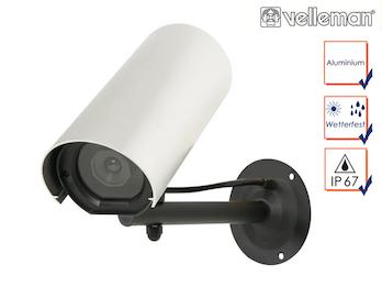 Kamera-Attrappe mit blinkender LED, Aluminiumgehäuse, inkl. Montagematerial