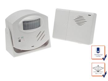 Funktürklingel mit Alarmfunktion und PIR-Bewegungsmelder, Reichweite 110° / 10m