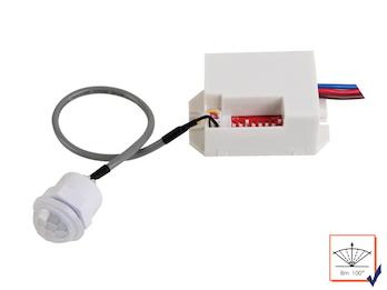 Mini PIR-Bewegungsmelder, zum Einbauen, 100°/8m, Zeitintervall wählbar