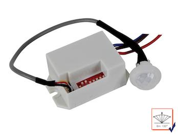 Mini PIR-Bewegungsmelder, zum Einbauen, 100°/8m, Zeitintervall wählbar-12Vdc