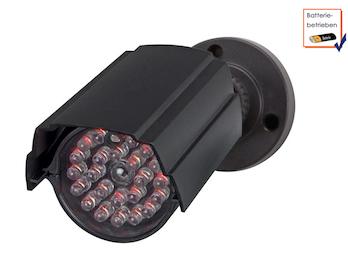 Zylindrische Kamera Attrappe mit IR-LED's, Bateriebetrieben, mit Montagematerial