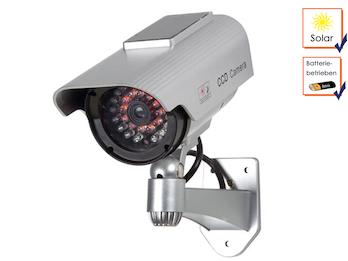 Kamera-Attrappe mit IR-LEDs und Solarmodul, inkl. Montagematerial