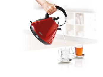 Stylischer RETRO Wasserkocher 1,7L leise, aus Edelstahl in Rot mit Filter