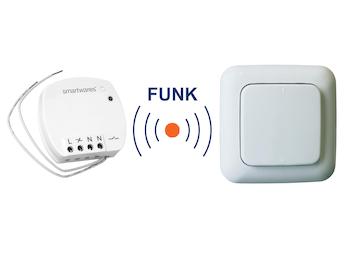 SmartHome Funk Schalter Set = Mini Funk-Einbauschalter + Funk-Wandschalter