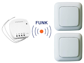 SmartHome Funk Schalter Set = Mini Funk-Einbauschalter + 2 x Funk-Wandschalter