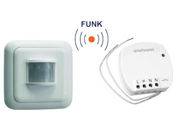 SmartHome Funk Schalter Set = Mini Funk-Einbauschalter + Bewegungsmelder 400W