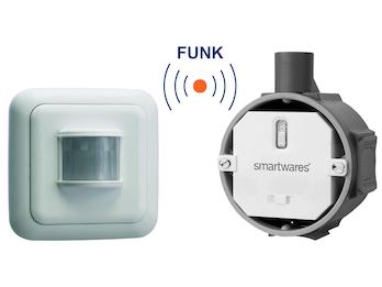 SmartHome Funk Schalter Set = Funk-Einbauschalter + Bewegungsmelder 1000W