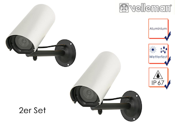 2er Set Kamera-Attrappe, blinkender LED, Aluminiumgehäuse, mit Montagematerial