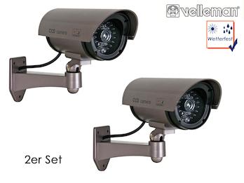 2er Set Kamera-Attrappe, IR-LEDs & Roter LED, wetterfest, mit Montagematerial