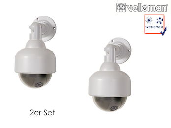 2er Set Dome-Kamera-Attrappe mit roter IR-LED, wetterfest, mit Montagematerial