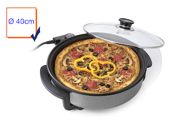 Elektrische Multifunktionspfanne Ø40cm, 1500Watt; Pizzapfanne mit Glasdeckel