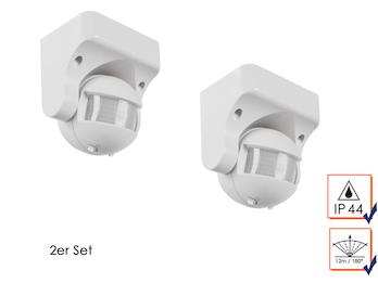 2er Set PIR-Bewegungsmelder 12m/180°, Deckenmontage, Zeitintervall, max. 1200W
